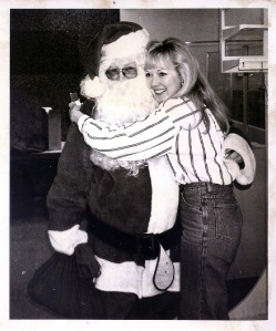 Santa's helper in 1993 with a beloved co-worker, Therese, who died a decade later of cancer.