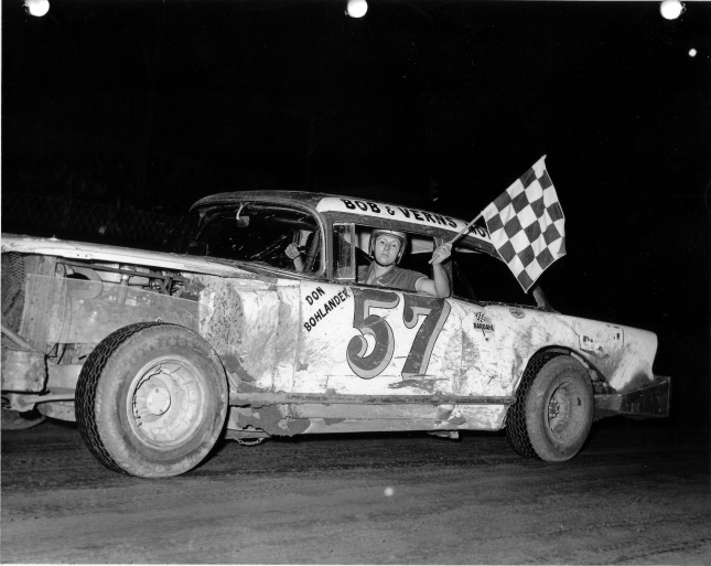 Don Bohlander, shown in this 1966 photo, once gave some useful racing advice to Jim Gerger about getting around the turns at Peoria Speedway. Photo from the Phil Roberts collection.