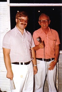 Phil the reporter and Paul the announcer together in June 1979 at the former Hawkeye Raceway near Blue Grass, Iowa.