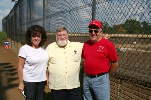 Jan Montgomery, myself and Terry Ryan just before the Hall of Fame ceremony in September of 2008 at Quad City Raceway in East Moline, Ill. Jan's late husband, Dean Montgomery, and Ryan were among those inducted. I was the emcee. Sherry Roberts photo.