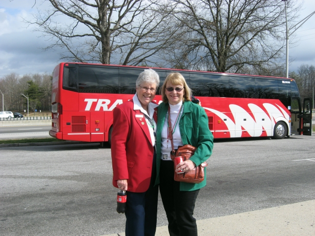 Sherry Roberts poses with tour escort Donna Pence, left.