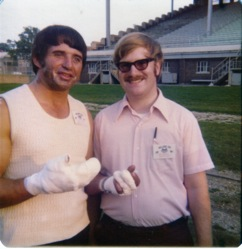 Phil with Ramo Stott, who was recovering from burns.