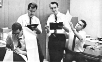 Ties and typewriters: (L to R) Bob Henry, Clark Anthony, Lou Gutenberger and Bill Vancil of KSTT.