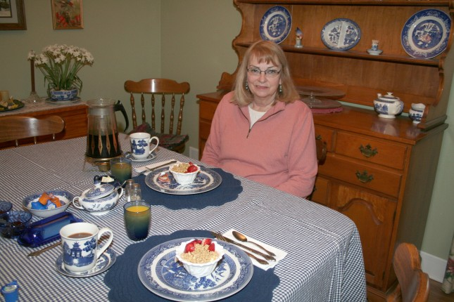 Breakfast was served on china just like Aunt Bee's.