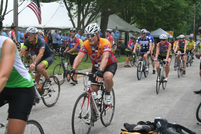 Some RAGBRAI stopped in Walcott while others rode through on their way to Davenport, the final destination. Phil Roberts photo.