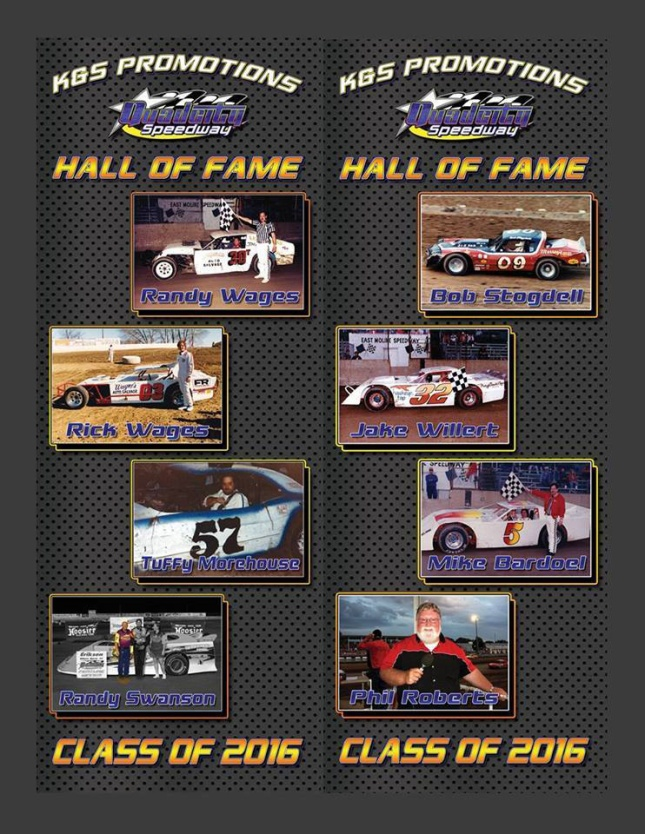 The 2016 inductees. this appeared in a QCS program and on a banner that hangs at the speedway.
